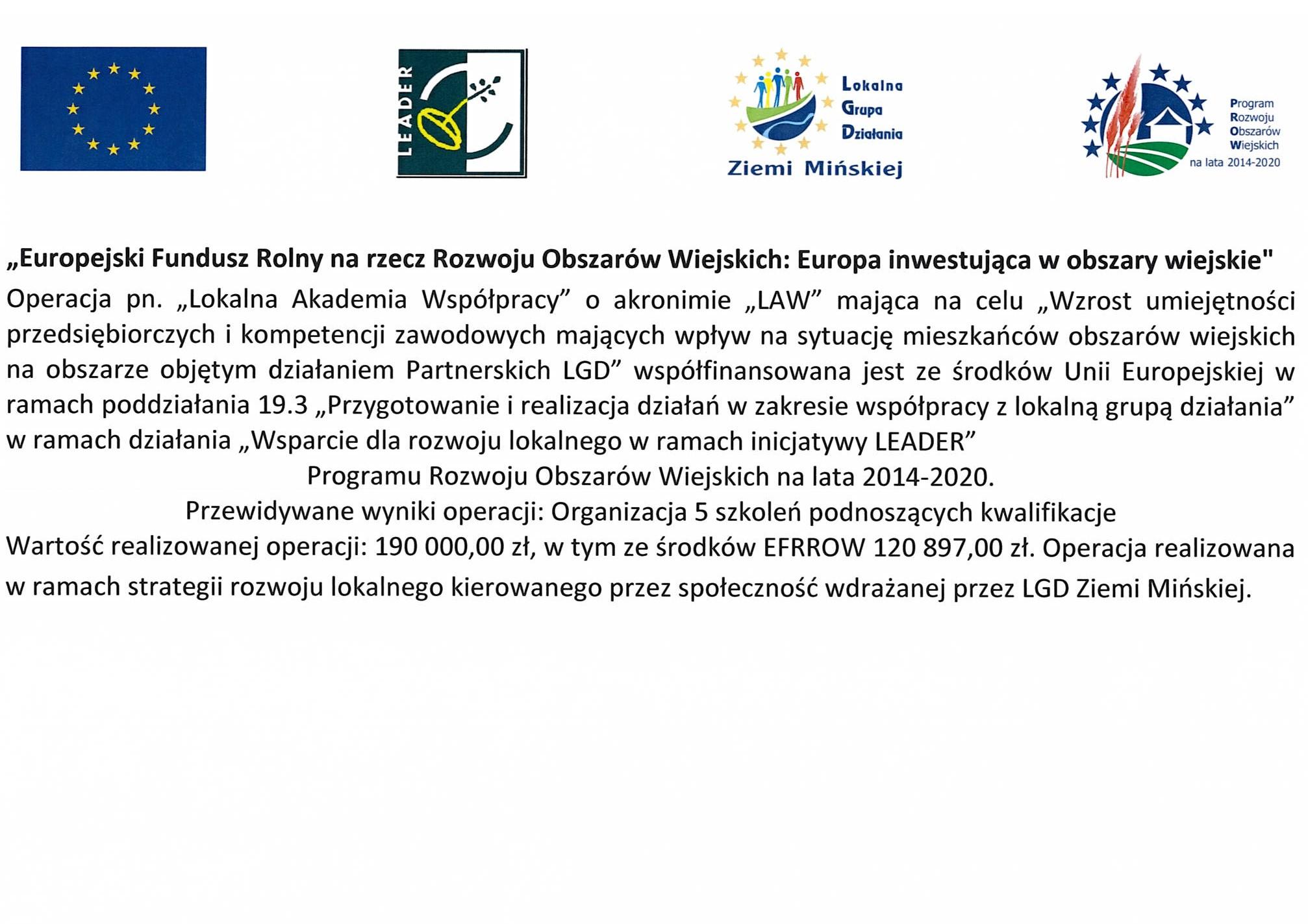 Projekt o akronimie LAW – Lokalna Akademia Współpracy